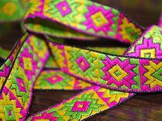 Yellow Neon Green Hot Pink Phulkari by Indianlacesandfabric