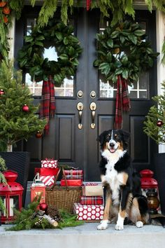If you like Front Porches Farmhouse Christmas Decorations Ideas lets read more and see our pins. I think its best of list for Front Porches Farmhouse Christmas Decorations Ideas Front Door Christmas Decorations, Christmas Front Doors, Christmas Porch, Farmhouse Christmas Decor, Noel Christmas, Modern Christmas, Outdoor Christmas, Beautiful Christmas, Christmas Wreaths