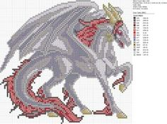 Cross-stitch Dragons by carand88... Christmas White Red Dragon by carand88