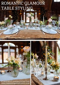 Romantic Glamour Wedding Ideas Table Decorations From The Wedding of my Dreams  - available from www.theweddingofmydreams.co.uk @theweddingomd