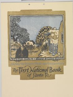Canon Road, Santa Fe: The First National Bank of Santa Fe - Gustave Baumann. #art #artists #baumann