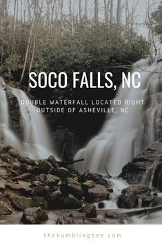 Soco Falls features a double waterfall right outside of Asheville, NC. In a little town called Maggie Valley Maggie Valley North Carolina, Maggie Valley Nc, North Carolina Mountains, Downtown Asheville Nc, Visit Asheville, Asheville North Carolina, Asheville Waterfalls, Nc Waterfalls, Hiking Places