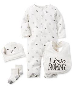 Carter's Baby Boys' or Baby Girls' Little Lamb Converter Gown, Cap, Bib & Socks Set - Newborn Shop - Kids & Baby - Macy's Baby Outfits, Toddler Outfits, Kids Outfits, I Love Mommy, Baby Love, Carters Baby Boys, Baby Kids, Baby Set, Baby Boy Fashion