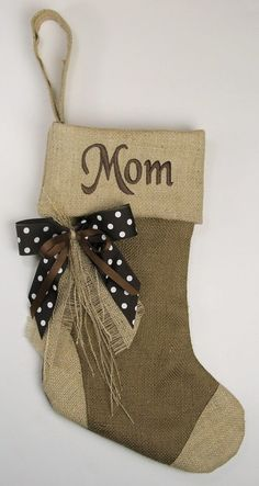 monogrammed burlap with ribbon bow christmas stocking