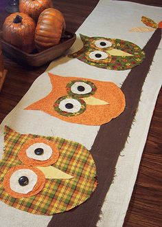 Owls on a Limb Fall Table RUnner by prairiecottagerose, via Flickr