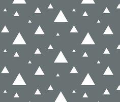 White Triangles on Grey fabric by sierra_gallagher on Spoonflower - custom fabric