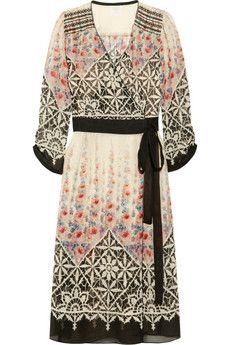 Anna Sui  Floral-print silk-chiffon wrap dress