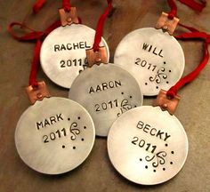 Personalized Christmas Ornaments - Set of 5 - Mixed Metal Cold Connections Custom Hand Stamped with Name and Year