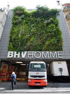 BHV Department store exterior, Rue de la Verrerie, Paris kicks our butt in green walls!