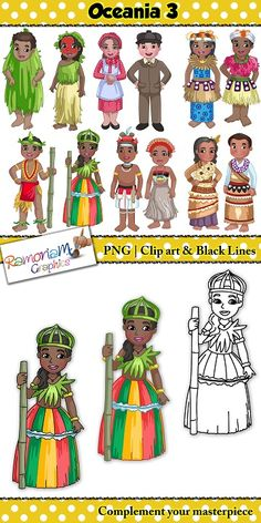 Children of around the World Clip art containing a male and female from the following countries from Oceania: European New Zealand (Settlers), Palau, Papua New Guinea, Tongo, Tuvalu, Vanuatu. #ramonam #ramonamgraphics #kidsapproved #teacherclipart #tpt #childrenoftheworldclipart #childrenaroundtheworldclipart