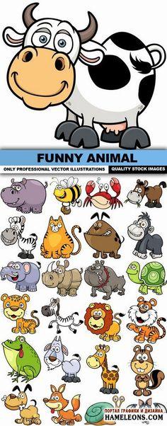 Забавные мультяшные животные, насекомые, рептилии - Векторный клипарт | Funny Animal Vector
