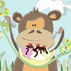 Did someone say ice cream? If you were hoping for a taste you better be quick because this little monkey is digging in! - nursery kids canvas art perfect for little boys room, little girls room, neutral nursery and monkey lovers.