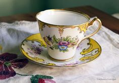 Vintage Salisbury Fine Bone China Made in England Retro Yellow and White with Flowers and Gilding Decor 1 Tea Cup and 1 Matching Saucer by LittlemixAntique on Etsy
