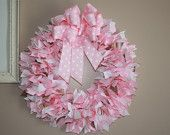 Pink , white and polka dot grosgrain ribbon wreath for a girl's room, hospital door, or baby shower gift. $42.00, via Etsy.