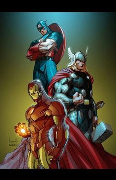 Avengers - Captain America, Ironman, and Thor - Marvel Dc Comics, Marvel Avengers, Marvel Heroes, Anime Comics, Marvel Comic Character, Marvel Characters, Marvel Universe, Loki, Thor