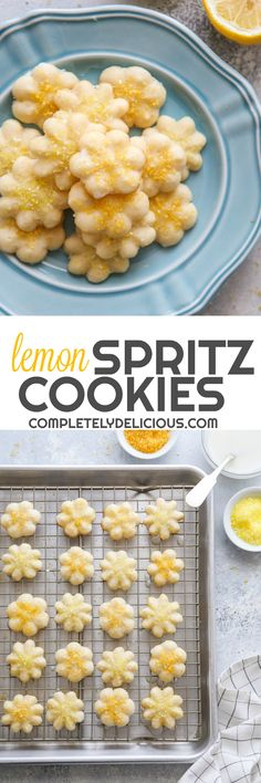These tender little spritz cookies are packed with lemon flavor and perfect for Spring! Butter Spritz Cookies, Spritz Cookie Recipe, Candy Cookies, Yummy Cookies, Holiday Cookies, Cupcake Cookies, Super Cookies, Shortbread Cookies, Cupcakes
