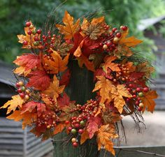 Beautiful 24 Inch Weather Resistant Wreath that can be used Indoors or Outdoors Full Wreath with a Mixture of Berries and Leaves in all the Great Fall Colors, B