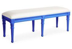 Carroll Outdoor Bench, White/Cobalt