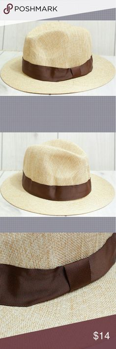 """Men's Wide Brimmed Fedora Summer Hat A wide Brimmed 100% polyester summer fedora.  Cigar and Bermuda shorts required.  Size S suitable for head circumference 21-22"""" Size L suitable for head circumference 23-23.5""""  GT2 Unbranded Accessories Hats"""