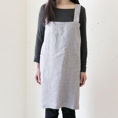 f3fad55da79 Fog Linen linen square grey white stripe Japanese cross over apron Fog Linen