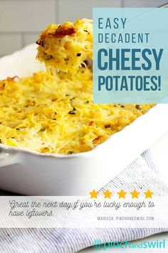 Easy Cheesy Potatoes are easy to make from scratch! This decadent casserole is baked in the oven and makes the perfect side for get togethers with family and friends and holidays too! No canned soup or frozen hash browns required! Easy Summer Meals, Healthy Summer Recipes, Quick Healthy Meals, Cheesy Potato Casserole, Cheesy Potatoes, Potluck Side Dishes, Side Dishes Easy, Real Food Recipes, Great Recipes