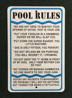 Pool Rules Funny 12 inches wide by 18 inches tall by SafariSigns