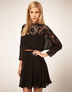 Classy- black, flowy, and lacey, but covers all