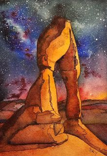 """Delicate Arch Under the Stars, I painted this watercolor of Delicate Arch under a starry night sky in preparation for teaching my """". Watercolor Landscape, Landscape Paintings, Watercolor Paintings, Starry Night Sky, Night Skies, Watercolor Night Sky, Delicate Arch, Art Things, Arches"""