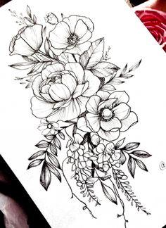 Flower Tattoo Drawings, Flower Tattoo Designs, Tattoo Sketches, Drawing Flowers, Painting Flowers, Floral Drawing, Peony Flower Tattoos, Colorful Flower Tattoo, Floral Tattoo Design