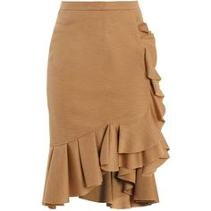 Givenchy Ruffled-trimmed wool skirt found on Polyvore featuring skirts, beige, high-waist skirt, high-waisted skirt, wool skirt, flouncy skirt and asymmetrical hem skirt