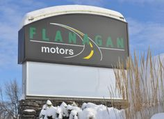 Flanagan Motors sign in February.
