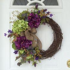 Spring Wreaths-Hydrangea Wreath-Front Door Wreath-Rustic Wreath-Mothers Day Wreath-Cottage Chic-Woodland Wreath-Summer Wreath  This spring wreath
