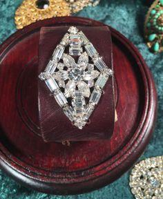 Made in the Deep South - Brown Leather Cuff - Rhinestone Diamond
