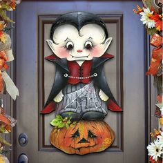 Halloween Porch Decor READY TO SHIP - Dracula Wooden Door Hanger by Jamie Mills Price - Wall decor - Outdoor Decor - Fall Decor - Real Time - Diet, Exercise, Fitness, Finance You for Healthy articles ideas Wooden Wall Decor, Wooden Door Hangers, Wooden Doors, Halloween Veranda, Outdoor Halloween, Rustic Halloween, Dracula, Halloween Tags, Halloween Ideas