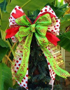 Christmas Tree topper / Mailbox bow by TazCreations on Etsy, $25.00