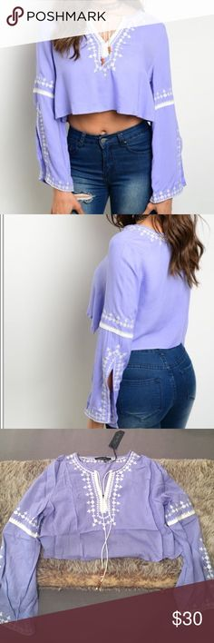 """✨Brand new lavender bell sleeve crop top✨ ✨Price is FIRM unless bundled                                         ✨No trades                                                                     ✨Same day or next day shipping                    ✨Fabric: 100% rayon                                            ✨Made in the USA                                            ✨Not from listed brand, boutique brand           Use the """"Buy Now"""" button below or """"Add to Bundle"""" button above to purchase & select…"""