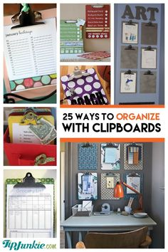 Looking for some cheap yet effective ways to get organized?  Well here's your solution The Clipboard!!  Here are 25 ways to organize it with a clipboard including solutions for groceries, chore charts, daily planners, birthdays, photo wall galleries, and even homemade gift ideas and family traditions!