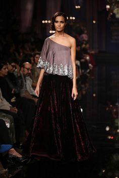 dark red velvet skirt with asymmetric top | The Glossy Grand Finale by Manish Malhotra {Lakme Fashion Week 2014} - Gallery - TheBigFatIndianWedding.com