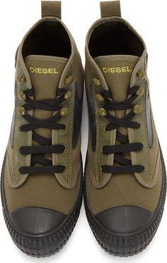 Diesel Green & Black Leather-Trimmed Dragonfly Sneakers