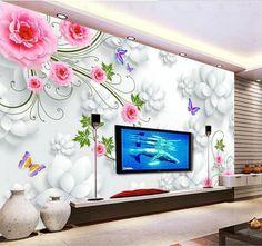 Grande mural papel de parede papel de parede 3D papel de parede mural rosa papel de parede adesivos de parede shipping8167! Co(China (Mainland)) Wall Painting Decor, 3d Wall Decor, 3d Wallpaper Living Room, Wall Wallpaper, Tv Unit Decor, Modern Tv Wall Units, Room Wall Colors, Butterfly Wall Decals, 3d Wall Panels