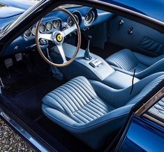 """Class Golden Era on Instagram: """"The feeling that you are underwater in this 1964 Ferrari 250 GT Lusso. ⠀⠀ Via the great @talacrest"""" Automotive Art, Luxury Automotive, Blue Dream, Italian Style, Exotic Cars, Vintage Cars, Underwater, Super Cars, Ferrari"""