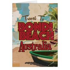 Shop Bondi Beach Australia Vintage vacation Poster Postcard created by bartonleclaydesign. Personalize it with photos & text or purchase as is! Bondi Beach Australia, Bondi Beach Sydney, Australia Day, Beach Fonts, Tourism Poster, Beach Posters, Beach Design, Vintage Travel Posters, Custom Greeting Cards
