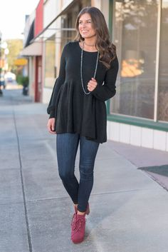 """""""Long Bishop Sleeve Peplum Sweater - Black"""" This sweater is wonderfully feminine and sweet! We love the shape the peplum gives this sweater and those bishop sleeves are precious! #newarrivals #shopthemint"""