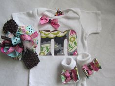 Baby Girl Monogram Gift Set/ Newborn Girl Going Home Set (pink and gray paisley) on Etsy, $39.00