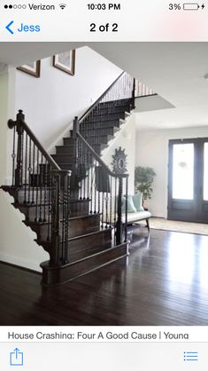 Love a dark & white staircase.