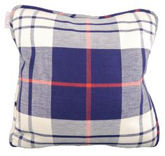 """This nautical colored plaid soft woven throw pillow will add buckets of charm and comfort to your favorite sofa or chair. DETAILS YOU WILL APPRECIATE  20"""" Square Proudly handmade in USA 100% Cotton Cover Concealed 18""""zipper closure Finished with coordinating piping Pattern shown on front and back  KEY PRODUCT POINTS  Accommodates a 22"""" x 22"""" insert; sold separately.   CARE AND MAINTENANCE  Dry clean only please.  SHIPPING INFORMATION  Please allow up to 10 days ..."""