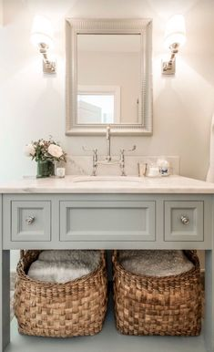 Blue and Grey Bathroom Decor Best Of Blue Gray Vanity with Shelf Transitional Bathroom Bad Inspiration, Bathroom Inspiration, Bathroom Styling, Bathroom Storage, Bathroom Organization, Bathroom Closet, Makeup Organization, Storage Organization, Bathroom Heater