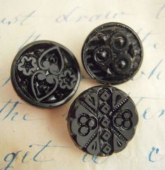 Victorian Black Glass Buttons Carved Antique by CampStoreVintage