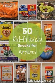 50 Kid-Friendly Airplane Snacks A simple way to keep kids occupied on a plane is to give them something to munch on. Here's a list of 50 kid-friendly airplane snacks for your next stress-free trip with the family!