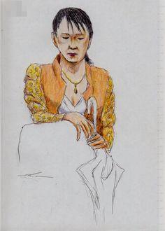 オレンジのジャケットのお姉さん(通勤電車でスケッチ) This is a woman of sketch wearing an orange jacket. I drew in a commuter train.